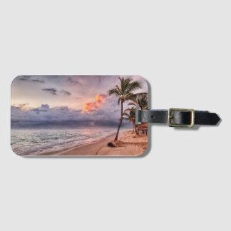 Ocean Waves Sandy Beach Sunset Luggage Tag