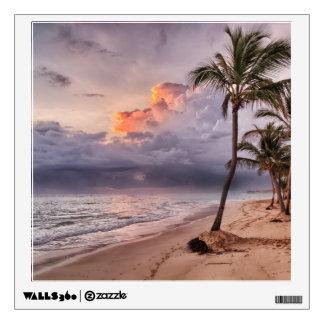 Ocean Waves Sandy Beach Sunset Wall Sticker