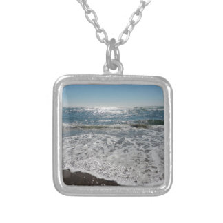 Ocean Waves Square Pendant Necklace