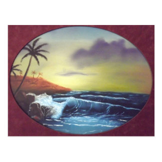 Ocean Waves Tropical Island - Mike Kiss Postcard