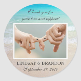 Ocean Wedding Photo Thank You Favor Labels
