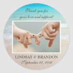 Ocean Wedding Photo Thank You Favor Labels Classic Round Sticker