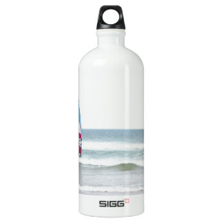 Ocean Windsurfer with Red White and Blue Aluminum Water Bottle