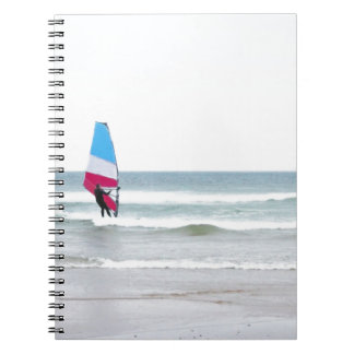 Ocean Windsurfer with Red White and Blue Spiral Note Book