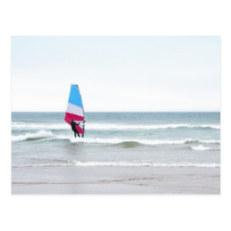Ocean Windsurfer with Red White and Blue Postcard