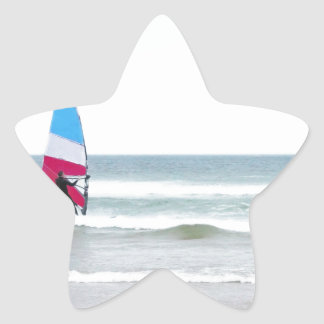 Ocean Windsurfer with Red White and Blue Star Sticker