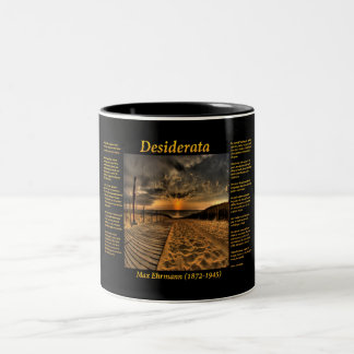 Ocean with a wooded plank walkway down to the sea Two-Tone coffee mug