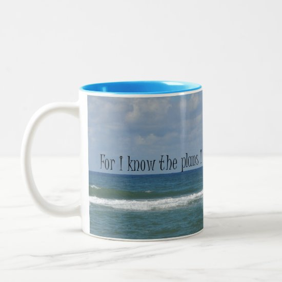 Ocean with Bible Verse Two-Tone Coffee Mug