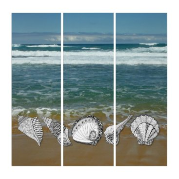 Beach Themed Ocean with Hand Drawn Seashells Triptych