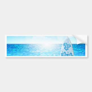 Ocean With Surfboard Bumper Sticker