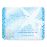 Oceanfront Starfish + Sea Shell Wedding Thank You 4.25x5.5 Paper Invitation Card