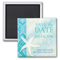 Oceanfront Starfish Teal Wedding Save the Date Refrigerator Magnets