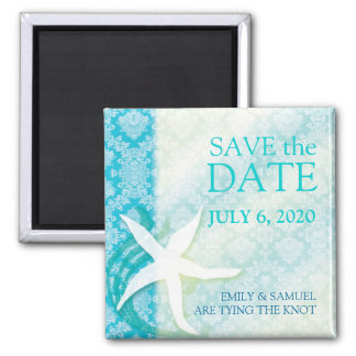 Oceanfront Starfish Teal Wedding Save the Date Magnet