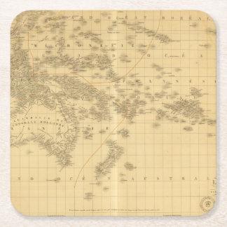Oceanía 2 2 posavasos de cartón cuadrado