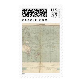 Oceania Atlas Map Postage Stamp