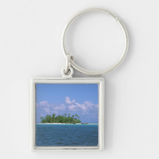Oceania, French Polynesia, Tahiti. Small Silver-Colored Square Keychain