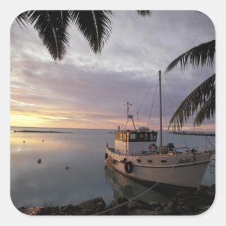 Oceania, Polynesia, Cook Islands, Aitutaki, Square Sticker