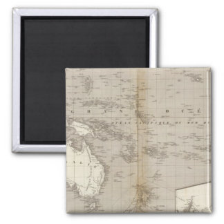 Oceania uncolored map 2 inch square magnet
