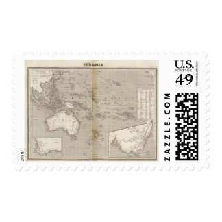 Oceania uncolored map stamps