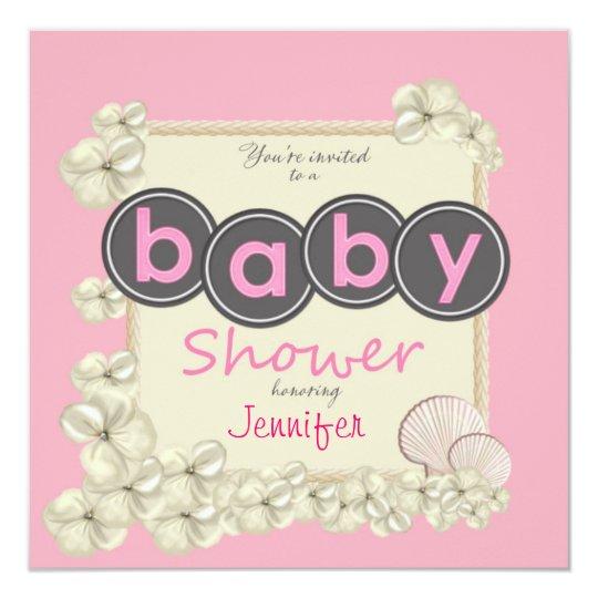 Oceanic Baby Girl Shower Invitation