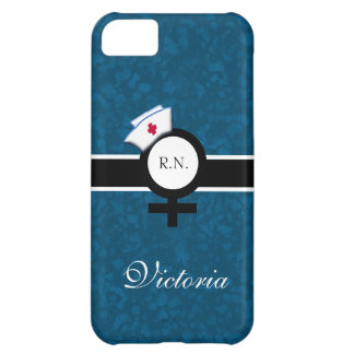 Oceanic Blue+Female Sign+Nurse Cap/Name Case For iPhone 5C