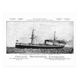 Oceanic Steamship Mariposa to Hawaii, 1890 Postcard