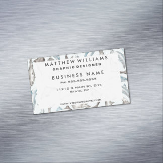 Oceanic Watercolor Fishes in Blue Black White Gray Business Card Magnet