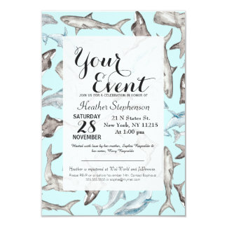 Oceanic Watercolor Fishes in Blue Black White Gray Card