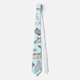 Oceanic Watercolor Fishes in Blue Black White Gray Tie