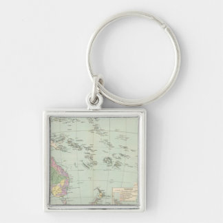 Oceanien - Atlas Map of Oceania Silver-Colored Square Keychain