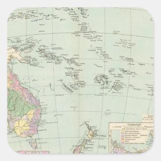 Oceanien - mapa del atlas de Oceanía Pegatina Cuadrada