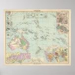 Oceanien - mapa del atlas de Oceanía Póster