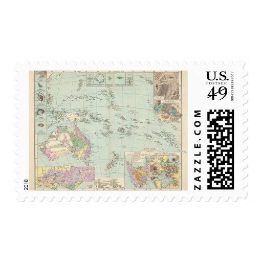 Oceanien - mapa del atlas de Oceanía Sellos