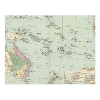 Oceanien - mapa del atlas de Oceanía Postal