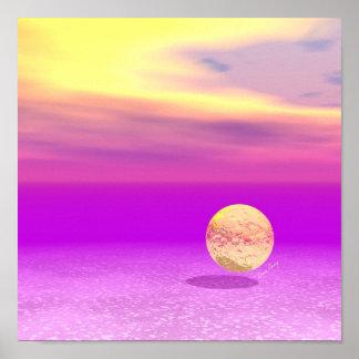 Océano a la deriva, abstracto de la violeta del póster