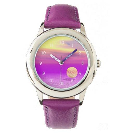Océano a la deriva, abstracto de la violeta del relojes de mano
