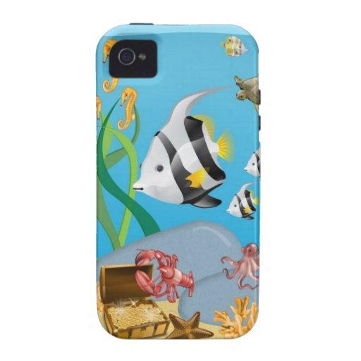 Océano acuático bajo caso del iPhone 4 del mar Vibe iPhone 4 Funda