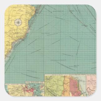 Océano Atlántico del sur Calcomanía Cuadrada Personalizada