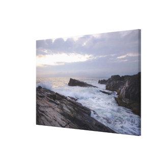 Océano Atlántico en la salida del sol en Maine Impresión En Lona Estirada