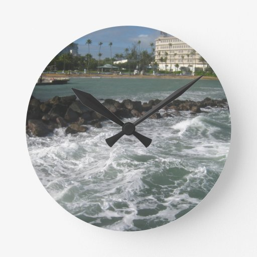 Océano Atlántico, SJ, Puerto Rico - por Galina - Reloj Redondo Mediano