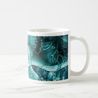 Océano azul con el un montón de pescados taza