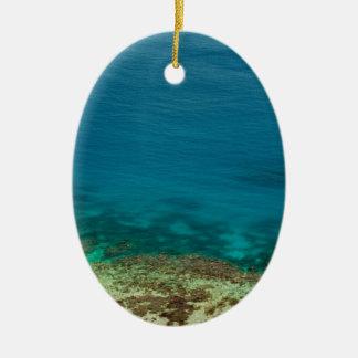 Océano azul de la isla de Yasawas, Fiji Adorno Navideño Ovalado De Cerámica