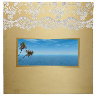 Océano azul y palmeras que casan servilletas