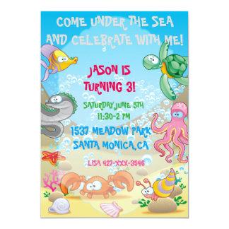 Océano colorido bajo invitación del cumpleaños del