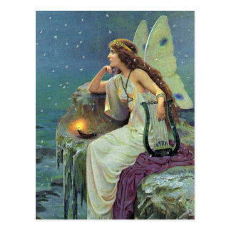 Océano de hadas bonito de la vela de la arpa de tarjetas postales