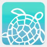 Océano de la acuarela de la tortuga de mar etiquetas