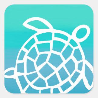 Océano de la acuarela de la tortuga de mar pegatina cuadrada
