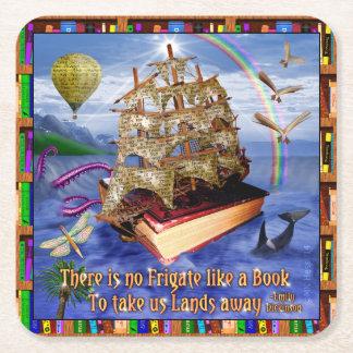 Océano de la nave del libro de la cita del poema posavasos desechable cuadrado