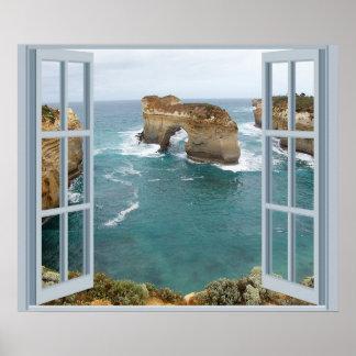 Océano de la opinión de la ventana póster