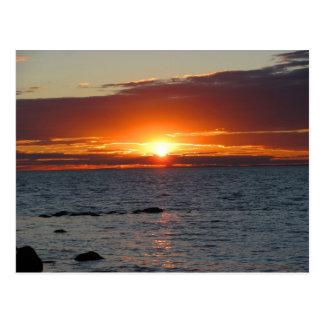 Océano de la puesta del sol del Block Island Tarjetas Postales